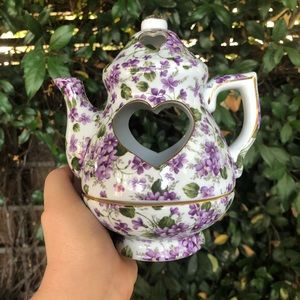 Floral Tealight Candle Holder Teapot